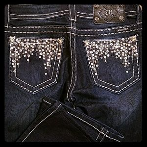 Miss Me Boot Cut Jeans with sequence pockets
